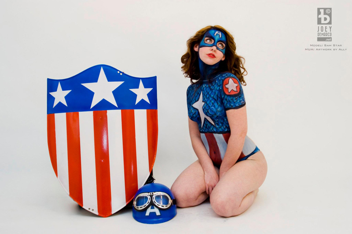 Captain America Body Paint Cosplay