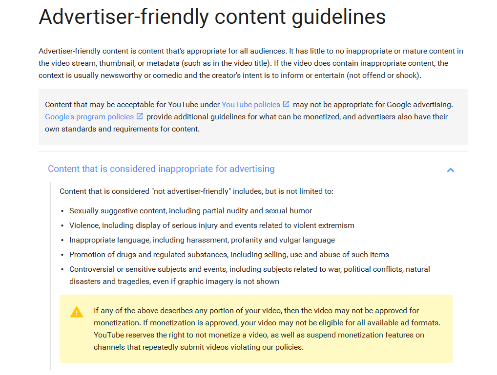 youtube terms of service