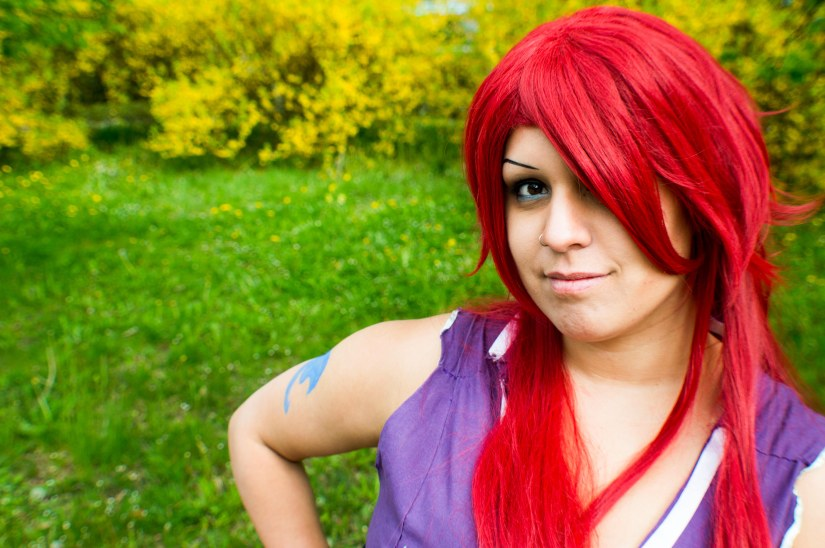 Erza Scarlet wearing the Robe of Yuen from FairyTail
